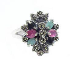خرید انگشتر نقره زنانه چند جواهر زمرد و یاقوت با قیمت مناسب