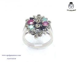 قیمت انگشتر نقره زنانه چند جواهر زمرد و یاقوت