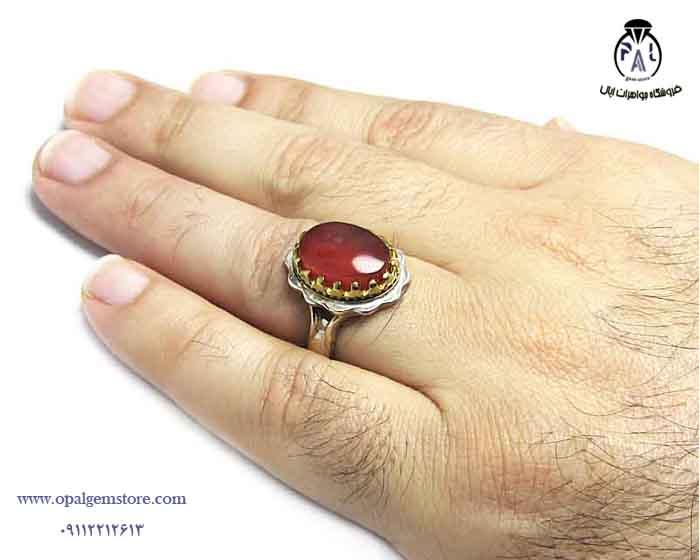 انگشتر نقره عقیق یمنی مردانه کد ۱۵۷۳