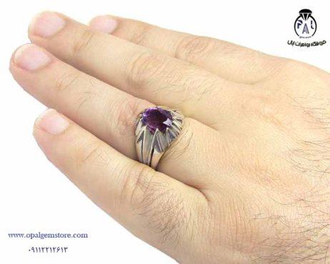 خرید انگشتر نقره آمتیست مردانه با قیمت خوب