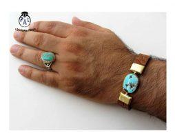 خرید دستبند چرم و فیروزه نیشابوری