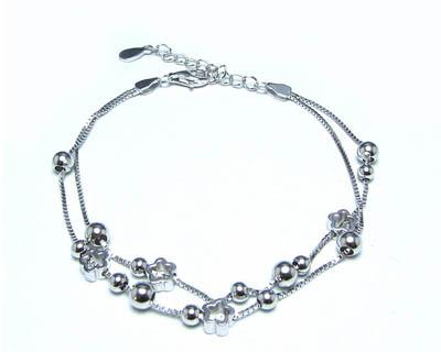 دستبند نقره زنانه دو رشته ای طرح گل کد ۱۵۲۴