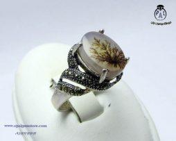 خریدانگشتر نقره زنانه عقیق شجر با قیمت مناسب