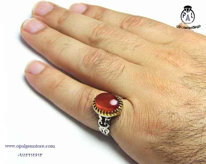 انگشتر نقره مردانه عقیق یمنی کد ۱۵۶۱