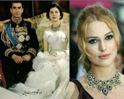 گردنبند ملکه ثریا بر گردن بازیگر هالیوودی