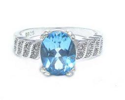 خرید انگشتر نقره توپاز آبی زنانه با قیمت عالی