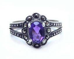 خرید انگشتر نقره زنانه آمیتیست با قیمت مناسب