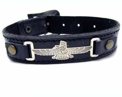 دستبند چرم و نقره طرح فروهر کد ۱۳۰۴