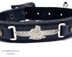 فروش دستبند چرم و نقره طرح فروهر با قیمت مناسب