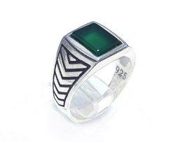 خرید انگشتر نقره پسرانه عقیق سبز با قیمت خوب