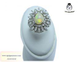 انگشتر نقره زنانه، اپال سفید، اپال اتیوپی، اوپال اتیوپی، اوپال زیبا