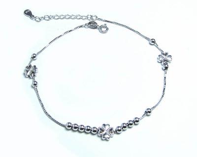 دستبند نقره زنانه طرح گل و قلب کد ۱۵۴۴