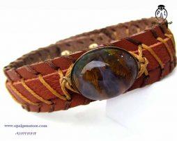 خرید دستبند چرم و عقیق خزه ای با قیمت مناسب