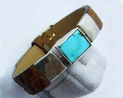 خرید دستبند چرم و فیروزه نیشابوری با قیمت مناسب