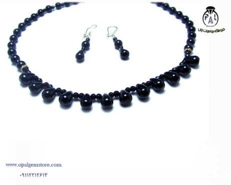 فروش ست گردنبند و گوشواره عقیق سیاه با قیمت مناسب