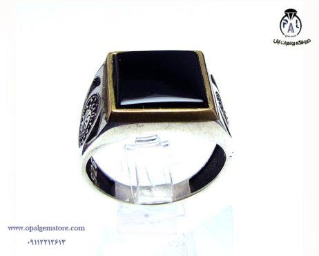 فروش انگشتر نقره مردانه عقیق سیاه با قیمت مناسب